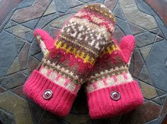 Felted Wool Mittens Rose, Brown & Cream Made From Upcycled Sweaters  $20 on etsy