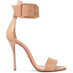 Christian Louboutin Blade Runana 100 leather sandals (€685) ❤ liked on Polyvore featuring shoes, sandals, beige, wide strap sandals, wide sandals, wide width sandals, buckle strap sandals and beige sandals