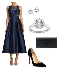 """""""Classy snow queen"""" by anna-brodin on Polyvore featuring Zac Posen, Anne Sisteron, Theia, Christian Louboutin and Yves Saint Laurent"""