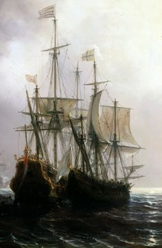 "millefeuilleus: ""  Capture of three Dutch Commercial Vessels by the French Ships Fidèle, Mutine and Jupiter by Théodore Gudin, 1840s, detail. """