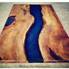 Deep blue resin table
