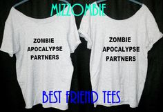 Best FRIEND shirts ZOMBIE apocalypse partners women ladies t shirts slouchy loose fit off shoulder on Etsy, $40.00