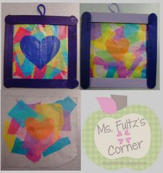 Mother's Day Stained Glass Craft Idea using tissue paper and craft sticks from Ms. Fultz's Corner