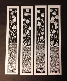 Zentangle Bookmarks or frame them all together. Depending on size - would make a lovely Dollshouse Screen. Tangle Doodle, Tangle Art, Zen Doodle, Doodle Art, Zentangle Drawings, Doodles Zentangles, Doodle Drawings, Doodle Patterns, Zentangle Patterns