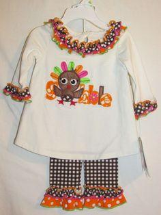 BONNIE BABY Girls Sz 3-6M Baby Turkey Outfit NWT Thanksgiving 2 pc Ivory Orange #BonnieBaby #ThanksgivingHoliday