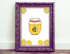 Honey jar print is a great touch o a kitchen or even a baby nursery or kids room. Etsy shop https://www.etsy.com/listing/450822158/honey-wall-art-bee-art-lemon-printed