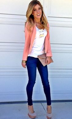 Smart casual outfit for fall / autumn white singlet, pink jacket and jeans. Smart Casual Outfit, Casual Outfits, Cute Outfits, Casual Jeans, Casual Tops, Casual Chic, Denim Jeans, Spring Summer Fashion, Autumn Winter Fashion