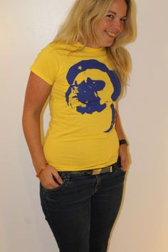 Bey Blue on Yellow designed by Ryan Chamberlain - Limited edition artist led T-Shirts and Hoodies exclusively available from http://www.inkytees.co.uk