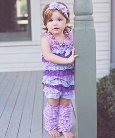 397a57a0e491 Whitney Elizabeth Lavender Lace Ruffle Romper   Flower Headband - Infant