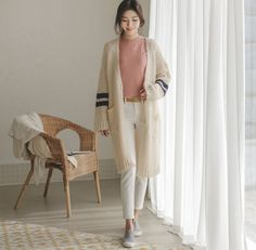 JUSTONE - Contrast-Trim Wool Blend Long Cardigan