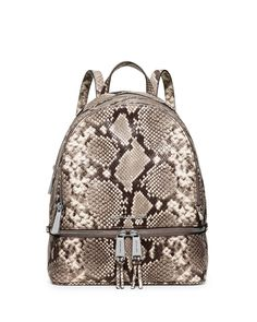 Rhea Embossed Leather Backpack, Natural