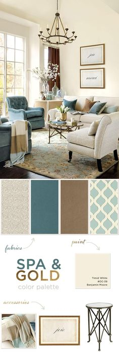 Color Palettes for Spring 2014 Gold gives spa blue a cozy, warmth~ Color palette for formal living & dining!:Gold gives spa blue a cozy, warmth~ Color palette for formal living & dining! Formal Living Rooms, Home Living Room, Living Room Designs, Apartment Living, Living Room Ideas In Blue, Stylish Living Rooms, Kitchen Living, Cream Sofa Living Room Color Schemes, Living Room Decor Gold