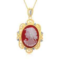 "Sterling Silver Gold Flash Plating Cameo with Created White Sapphire Pendant Necklace, 18"" Amazon Curated Collection. $75.00. Made in India"