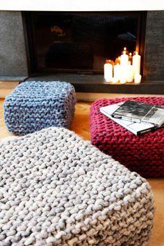 Pouf CUBO S - Wohnen mit Strick - Wohnaccessoires von meshmade  sam: make something like this for my floor pillows?