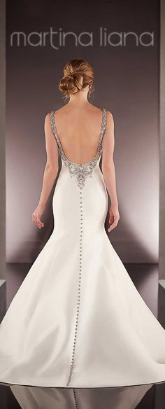 Martina Liana Spring 2016 Wedding Dress Collection  I like the way the buttons don't blend in... Very intriguing!