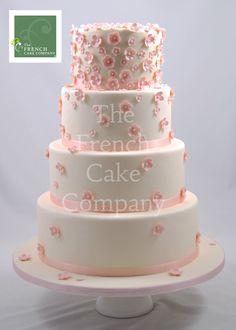 Wedding Cake Pink Flowers - Piece Montee Mariage Fleurs Roses - Bruidstaart