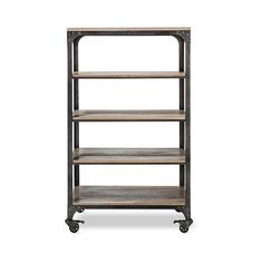 Bookcase: Franklin  Shelf Bookcase - The Industrial Shop, Grey/Light... ($380) ❤ liked on Polyvore featuring home, furniture, storage & shelves, bookcases, shelf bookcase, industrial bookshelf, pine book shelf, book-case and 5 shelf book case