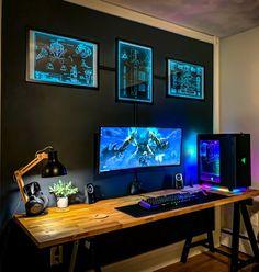 Gaming Desk Setup, Computer Gaming Room, Computer Setup, Pc Setup, Gaming Chair, Home Office Setup, Home Office Space, Home Office Design, Office Designs