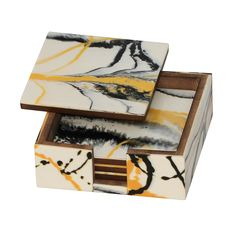 BEST DEALS on Square Beverage Coasters - SouvNear 4.5 Inches Drink Coaster Set of 4 with Holder - Table Decor - Handmade Yellow, Black and White Abstract Art >> Stop everything and read more details here! : Christmas Decorations