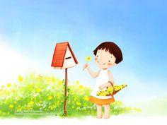韩国儿童插画 - 可爱小女孩 1600×1200第31张壁纸 - 猫猫 ...