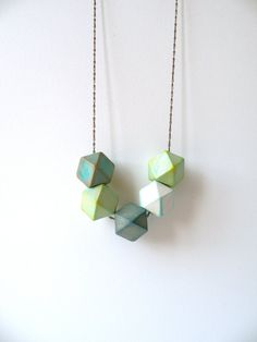 Wood Hedron Bead Geometric Necklace by jujujust on Etsy, $28.00