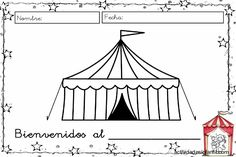 Coloring Page circus tent Camping Crafts For Kids, Summer Camp Crafts, Kids Camp, Carnival Crafts, Carnival Themes, Magic Decorations, 30 Day Drawing Challenge, Camping Friends, Circus Theme Party