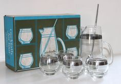 Mid century Libbey platinum banded 6 piece cocktail set [They really knew how to entertain, back in the day...sigh]