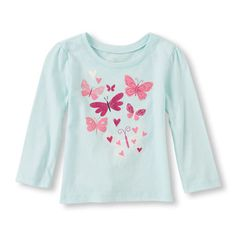 Toddler Girl's Long Sleeve Butterfly Graphic Tee