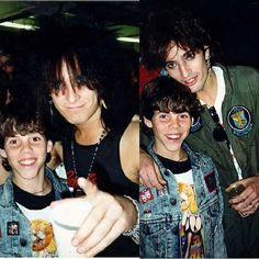 A young Steve-O meeting Nikki Sixx and Tommy Lee of Mötley Crüe (1987)