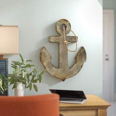 Discover anchor decor accents, anchor wall decor, and more for your nautical home decorations. Anchor Wall Decor, Fish Wall Decor, Nautical Wall Decor, Beach Wall Decor, Metal Wall Decor, Wall Art Decor, Anchor Decorations, Palette Wall, Wood Anchor