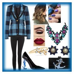 """""""Blue Plaid"""" by fashion-1993 on Polyvore featuring Topshop, Smythe, Yves Saint Laurent, Edie Parker, Valentino, WWAKE, Blue, plaid and blackandblue"""