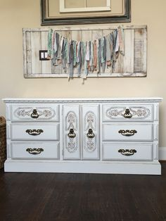 Shabby Chic redo. General finishes antique white with heavy distressing on the decal and edges. @jaimea4