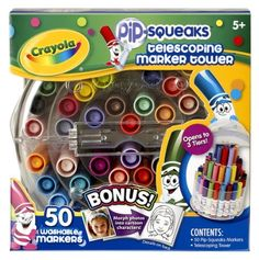Crayola 58-8750 Crayola Telescoping Pip-Squeaks Marker Tower, Assorted Colors, 50/Set by Crayola, http://www.amazon.com/dp/B000KWMWS6/ref=cm_sw_r_pi_dp_X.dOqb1GK6E78