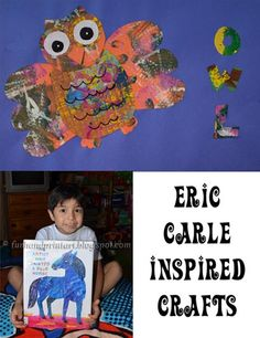 Eric Carle Book-Inspired Kids Crafts ....honor this amazing author's birthday that is June 25th by learning how he makes his book illustration and then make your own!
