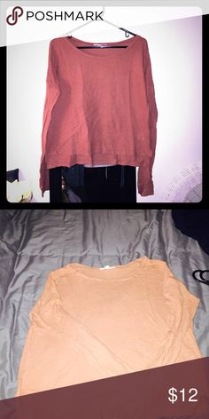 Long sleeve oversized front cropped tee Super comfortable. Sad to see go but doesn't fit anymore Forever 21 Tops Tees - Long Sleeve