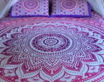 Roundie mandala bed sheet and matching pillowcases, mandala throw, bohemian wall tapestry, boho sheet, bohemian decor, hippie bedsheet