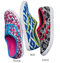 Feeling Springy Sneaker  Slip-on cotton-canvas upper. Comfort stretch vamp. Padded footbed. Flexible skid-resistant sole. Whole sizes only. Half sizes, order one size up.   (Click on item, to see details & purchase.)