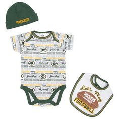 Infant Green Bay Packers  White Bodysuit, Bib & Cap Set