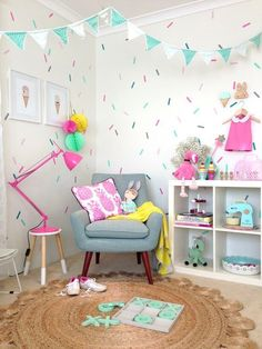 Love the colors and cute wallpaper! kids bedroom ideas for girls, simple girls bedroom Simple Girls Bedroom, Bedroom For Girls Kids, Little Girl Rooms, Trendy Bedroom, Kids Rooms, Room Kids, Kid Playroom, Kids Girls, Bohemian Bedrooms
