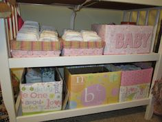 Repurposed diaper boxes and gift bags for pretty organizers Diaper Box Storage, Diy Storage Boxes, Diaper Boxes, Craft Storage, Gender Neutral Baby Shower, Baby Shower Themes, Shoe Box Organizer, Organizers, Project Nursery