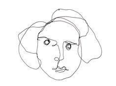 Filigranes Portrait einer Frau, von Hand geformt aus hauchfeinem Draht, anschließend schwarz lackiert. Das Drahtobjekt kommt sowohl an einer weißen Wand schön zur Geltung. Einzelstück....