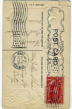 1913 Postcard back Printable Postcards, Old Postcards, Printable Labels, Free Printable, Old Paper, Pen And Paper, Paper Paper, Paper Crafts, Vintage Ephemera