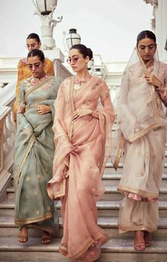 indian designer wear Sabyasachi just launched his 2020 new bridal collection. Sabyasachi Sultana Wedding Lehengas come in gorgeous new shades and you've got to see the dupatta! Indian Wedding Outfits, Bridal Outfits, Indian Outfits, Ellie Saab, Mode Bollywood, Bollywood Saree, Bollywood Fashion, Sabyasachi Sarees, Indian Sarees