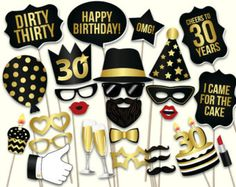 21st birthday photo booth props printable PDF. Black por HatAcrobat