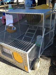 Portable chook cages from Good Looking Googees at the Farmers' Market.