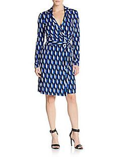 DIANE VON FURSTENBERG New Jeanne Geo-Print Wrap Dress. #dianevonfurstenberg #cloth #dress