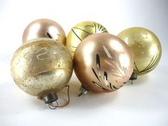 Vintage Mercury Glass Christmas Ornaments Gold by ChromaticWit