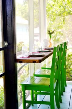 Seating/table in the screen porch. Good for plants when not needed for eating. :) RedBirdBlue: Our Home