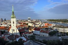 View of St. Martin's Cathedral and city of Bratislava Slovakia from atop Castle Hill at sunset