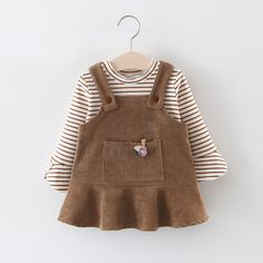 Check out this great stuff I just found at PatPat! : Baby / Toddler Girl Sweet Striped Top and Solid Suspender Dress Set An extra OFF is available for new users now Toddler Girl Style, Toddler Fashion, Kids Fashion, Toddler Girls, Kids Outfits Girls, Toddler Outfits, Girl Outfits, Baby Girl Dress Patterns, Baby Girl Dresses